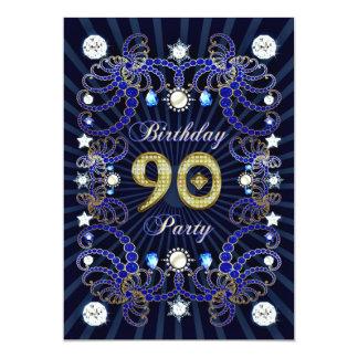 90. Geburtstags-Party laden mit Massen der Juwelen 12,7 X 17,8 Cm Einladungskarte