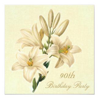 90. Geburtstags-Partychic-Vintage Lilien-Blumen Quadratische 13,3 Cm Einladungskarte