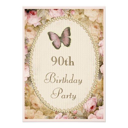 90. Geburtstags-Vintage Rosen Schmetterling, Ankündigung