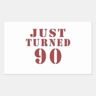 90 gerade gedreht Geburtstag Rechteckiger Aufkleber
