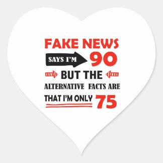 90. jährige Geburtstagsgeschenke Herz-Aufkleber