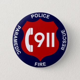 911 Knopf-Polizei feuert Krankenwagen ab Runder Button 5,7 Cm