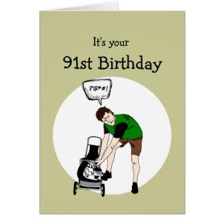 91. Geburtstags-lustige Rasenmäher-Beleidigung Karte
