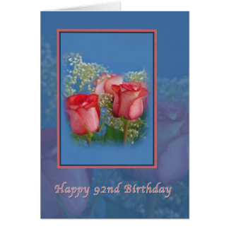 92. Geburtstags-Karte mit Roten Rosen Karte