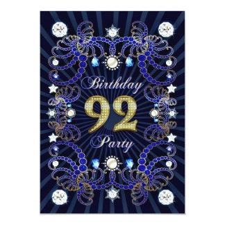 92. Geburtstags-Party laden mit Massen der Juwelen 12,7 X 17,8 Cm Einladungskarte