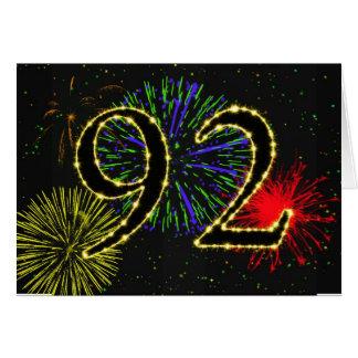 92. Geburtstagskarte mit Feuerwerken Karte