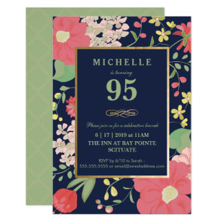 95. Geburtstags-Einladung - Gold, elegantes Blumen Karte