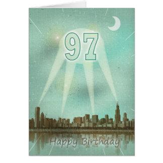 97. Geburtstagskarte mit einer Stadt und Karte