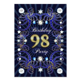 98. Geburtstags-Party laden mit Massen der Juwelen Ankündigungskarten