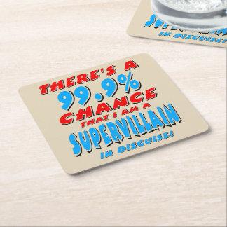 99,9% Ich bin ein SUPERschuft (Schwarzes) Rechteckiger Pappuntersetzer