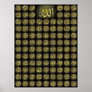 99 Allah-Namen bestes Qualitäts-Plakat Poster