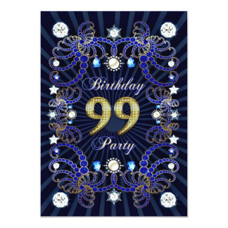 99. Geburtstags-Party laden mit Massen der Juwelen 12,7 X 17,8 Cm Einladungskarte