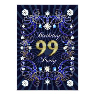 99. Geburtstags-Party laden mit Massen der Juwelen Individuelle Einladungskarte