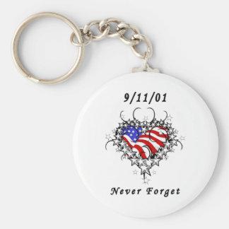 9/11/01 patriotische Tätowierung Schlüsselanhänger