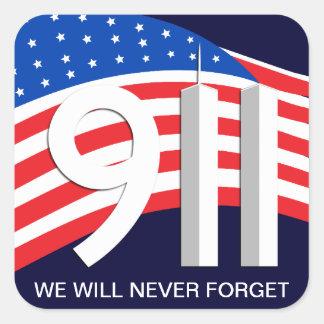 9. /11. September 11th - vergessen Sie nie Aufkleb Quadratsticker