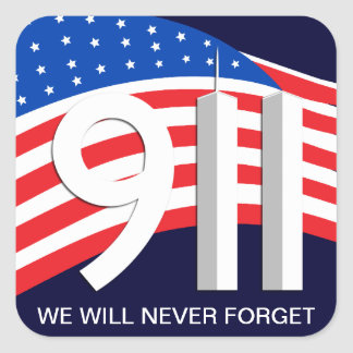 9. /11. September 11th - vergessen Sie nie Quadratischer Aufkleber