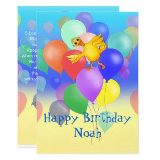 9 Ballon-Geburtstags-Gedicht durch Happy Juul 12,7 X 17,8 Cm Einladungskarte