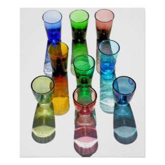 9 farbige Cocktail-Schnapsglas e-ähnlich 10 Plakatdrucke