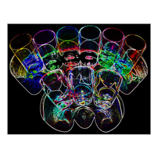 9 farbige Cocktail-Schnapsglas e-ähnlich 2 Plakatdrucke