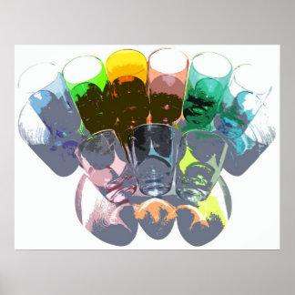 9 farbige Cocktail-Schnapsglas e-ähnlich 3 Plakatdruck