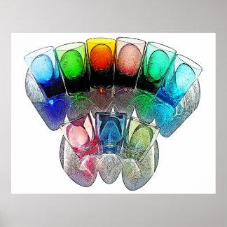 9 farbige Cocktail-Schnapsglas e-ähnlich 6 Plakate