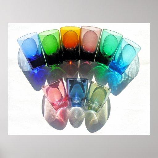 9 farbige Cocktail-Schnapsglas e-ähnlich 7 Plakatdruck