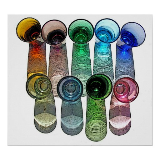 9 farbige Cocktail-Schnapsglas e-ähnlich 8 Plakatdrucke