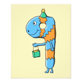 9. Geburtstags-Cartoon-Monster 11,4 X 14,2 Cm Flyer