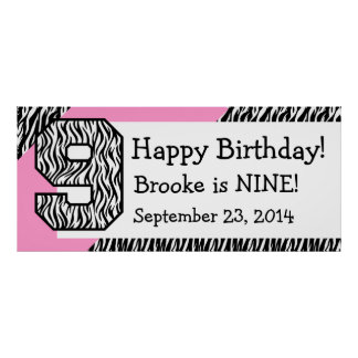 9. GeburtstagZebra mit rosa individuellem Namen Plakate