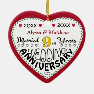 9. Jahrestags-Geschenk-Herz-geformtes Weihnachten Keramik Ornament