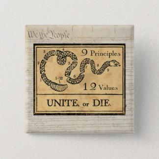 9 Prinzipien, 12 Werte, 912 Projekt-Knopf Quadratischer Button 5,1 Cm