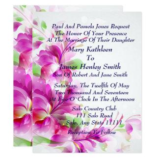 A2-Pink Frühlings-Blumenmuster-Hochzeits-Einladung 10,8 X 14 Cm Einladungskarte
