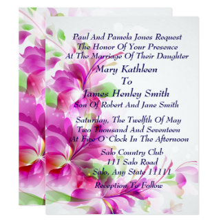 A2-Pink Frühlings-Blumenmuster-Hochzeits-Einladung Karte