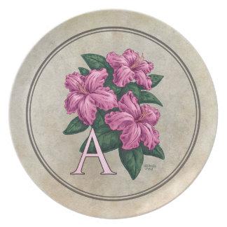 A für Azaleen-Blumen-Alphabet-Monogramm Melaminteller
