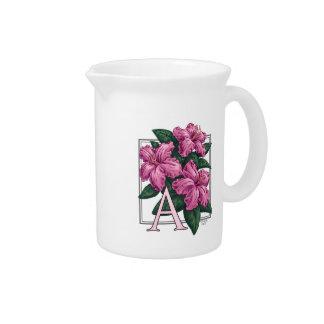 A für Azaleen-Blumen-Monogramm-Kunst Krug
