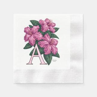 A für Azaleen-Blumen-Monogramm-Kunst Papierserviette