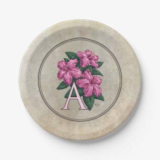 A für Azaleen-Blumen-Monogramm-Kunst Pappteller