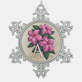 A für Azaleen-Blumen-Monogramm-Kunst Schneeflocken Zinn-Ornament