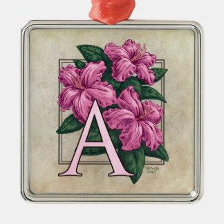 A für Azaleen-Blumen-Monogramm-Quadrat Prem Silbernes Ornament