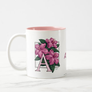 A für Azaleen-Blumen-Monogramm-und Namen-Tasse Zweifarbige Tasse