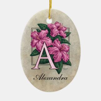 A für Azaleen-Blumen-Monogramm-Verzierung mit Keramik Ornament