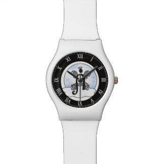 A- Monogramminitiale mit Engel und Wolke Armbanduhr