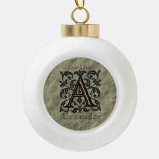 A - Prägeartiges Vintages Monogramm (golden) Keramik Kugel-Ornament