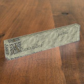 A - Prägeartiges Vintages Monogramm (golden) Namensplakette