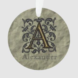A - Prägeartiges Vintages Monogramm (golden) Ornament