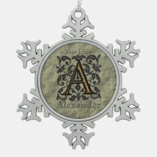 A - Prägeartiges Vintages Monogramm (golden) Schneeflocken Zinn-Ornament