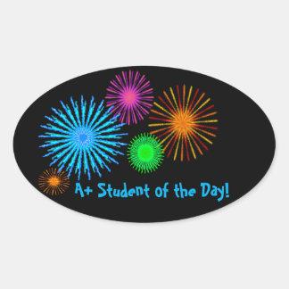 A+ Student des Tages! Ovaler Aufkleber