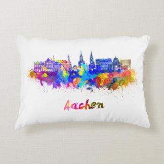 Aachen skyline im Watercolor Zierkissen