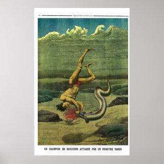 Aalangriff - Zeitungsdruck mit 1913 Franzosen Poster