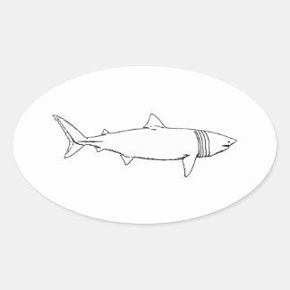 Aalender Haifisch-Logo (Linie Kunst) Ovaler Aufkleber